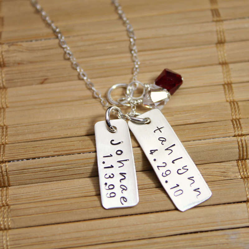 Family Necklace Rectangular Charms With Kids Names With